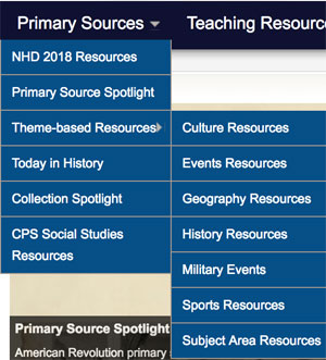 Primary Sources menu