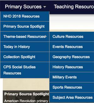 Primary Sources menu
