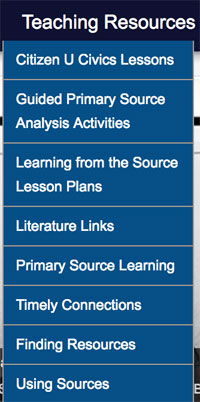 Teaching Resources menu