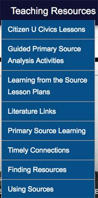 Teaching Resources menu