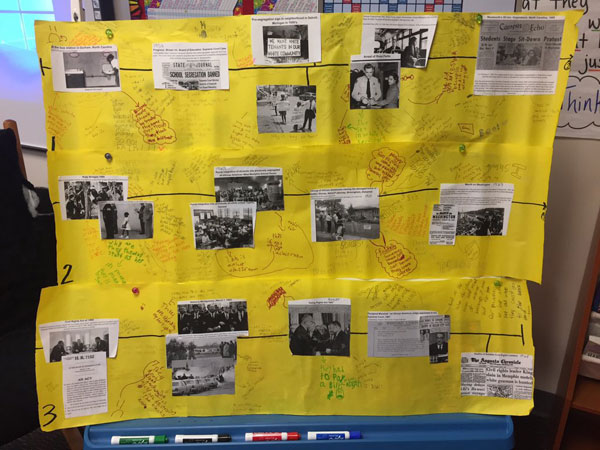 My 1st eval in 4th grade: analyzing primary sources to deepen understanding of historical fiction and create a parallel timeline of events in history with events from the plot