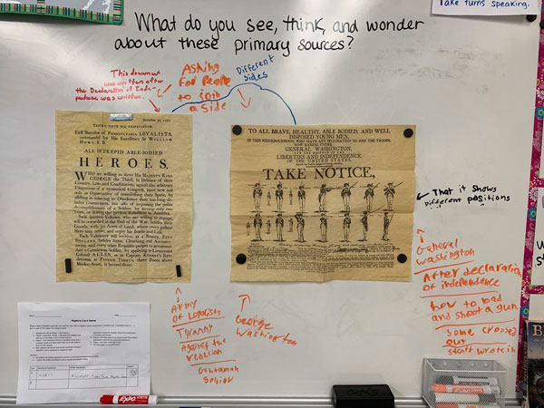We analyzed and discussed our conclusions about a variety of Revolution primary sources this morning!