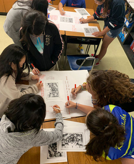 Through a Gallery Walk, 5th graders analyze political cartoons & primary sources from the Civil War, sharing ideas and responding to meaningful questions.