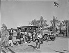 At the farmworkers' community at Indio, California, the newly-acquired school bus picks up one of its three loads of fifty children