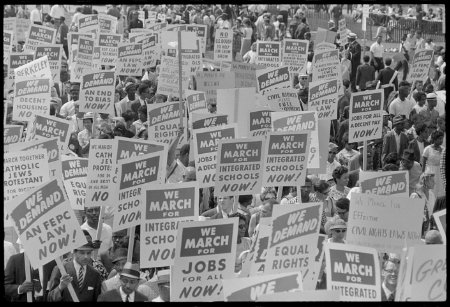 Signs carried by many marchers, during the March on Washington, 1963
