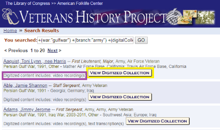 Finding Resources: Veterans History Project